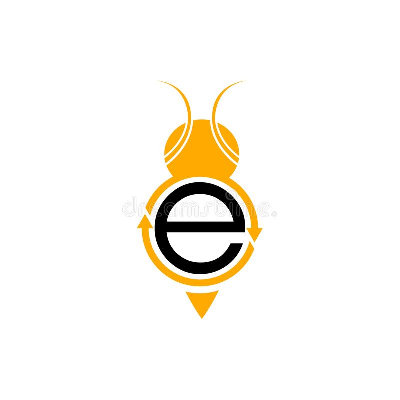 Circle arrow with initial letter E in black orange color vector illustration