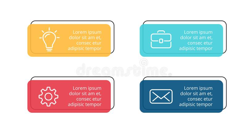 Vector paper arrows infographic, banners diagram, labels graph, stickers presentation chart. Business concept with 4. Circle arrows diagram for graph infographic royalty free illustration
