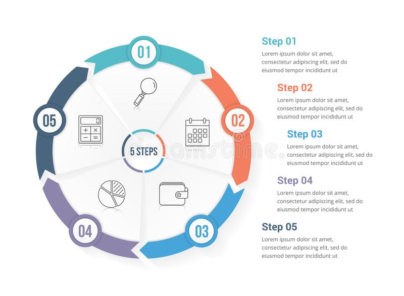 Circle Arrows with Five Elements. Circle arrows - infographic template with five elements, steps or options, workflow or process diagram stock illustration