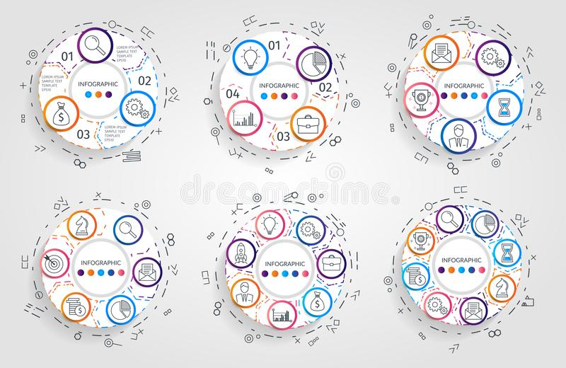 Circle arrows infographic. Business concept with 3 4 5 6 7 8 options, parts, steps or processes. Vector pie charts. Business infographics. Infographic elements stock illustration