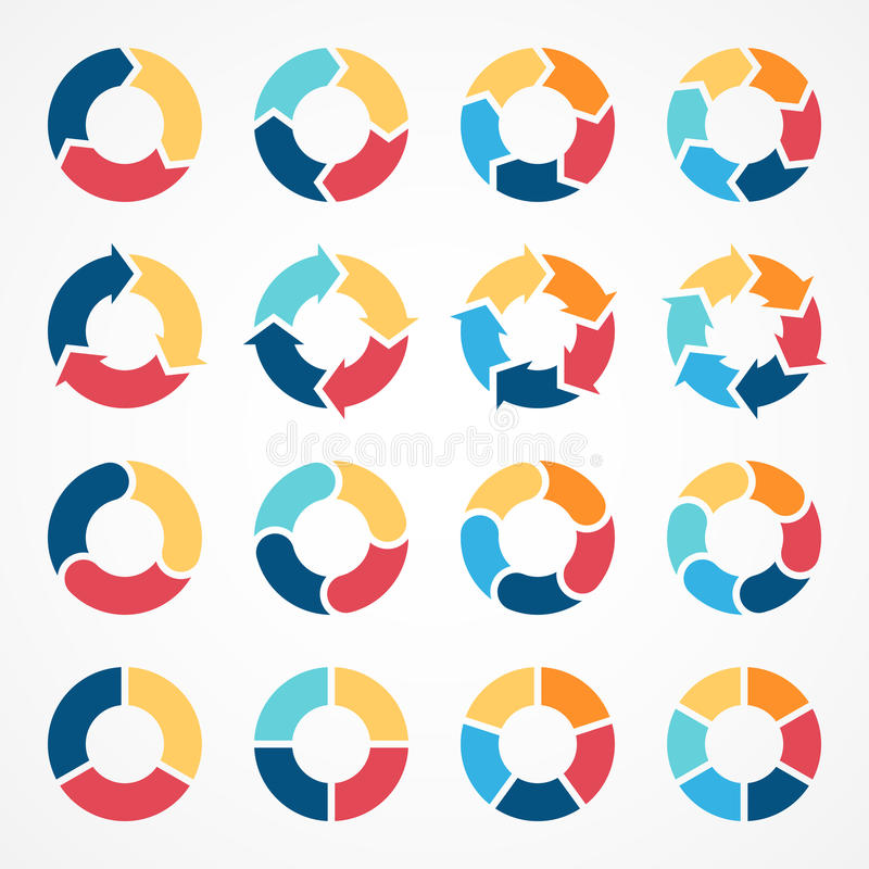 Free Circle Arrows Infographic Diagram 3, 4, 5, 6 Royalty Free Stock Images - 45075039