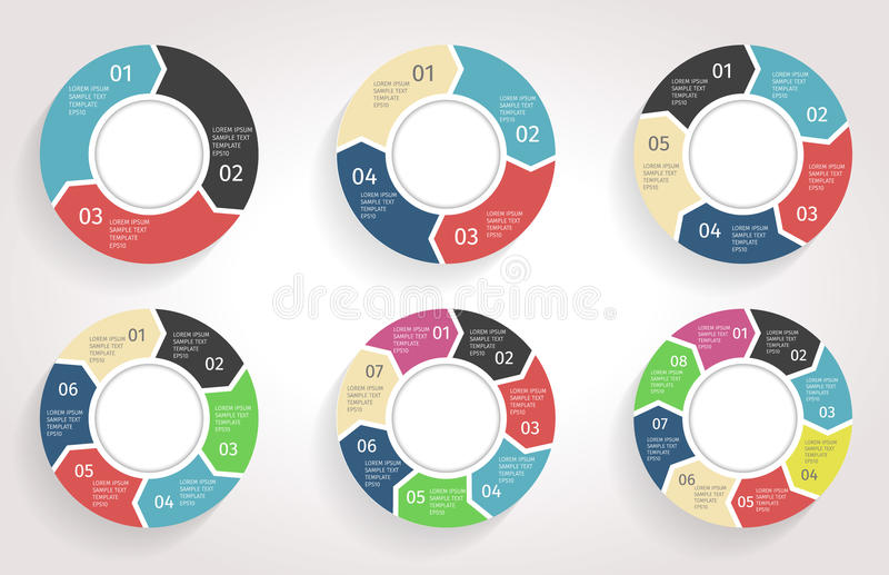 Circle arrows infographic. Vector template in flat design style. stock illustration