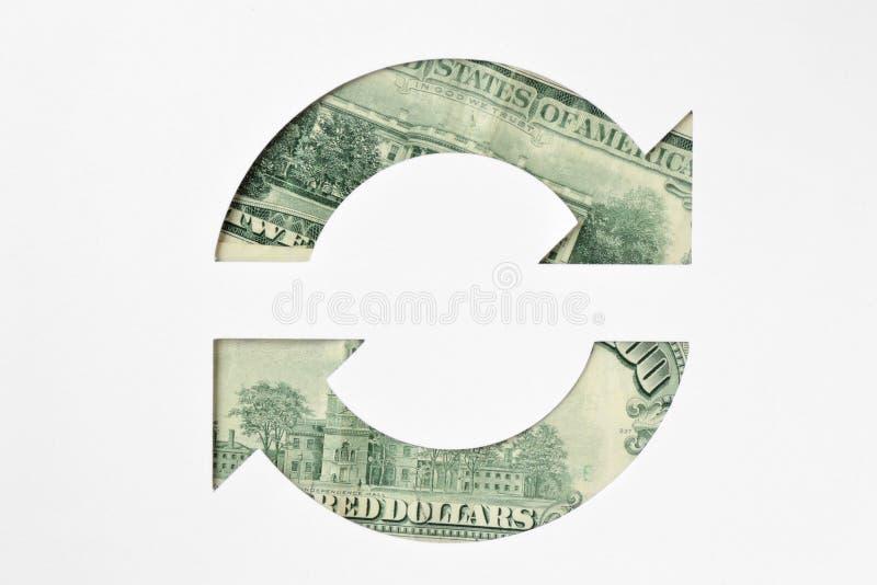 Circle arrows made of dollar banknotes - Money circulation conc. Circle arrows made of dollar banknotes on white background - Money circulation concept royalty free stock photo