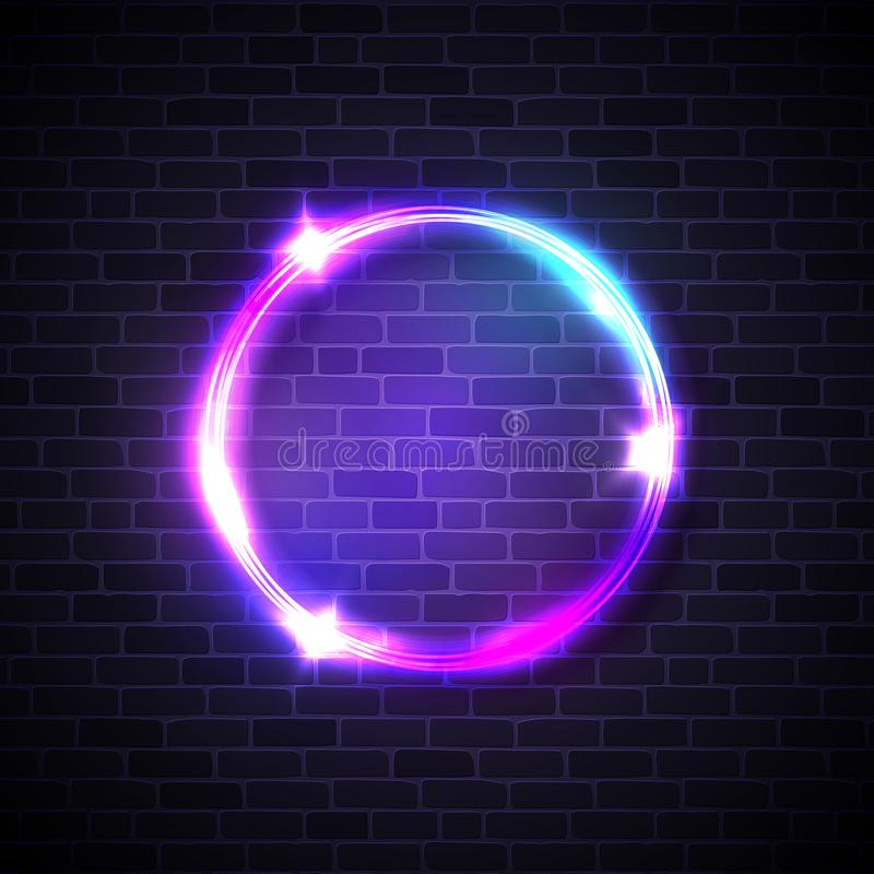 Circle background on brick wall. Neon lights sign. royalty free illustration