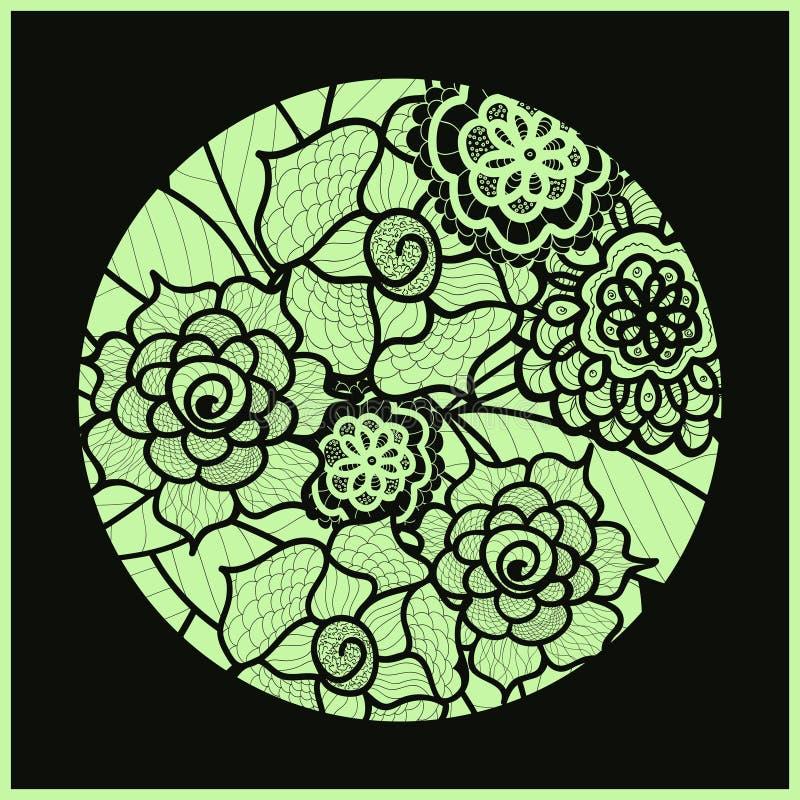 Circle background. Ornamental decorative drawing. Vector artwork. Black and green illustration. Summer flower ornament. Round lace design. Floral mandala. Hand vector illustration