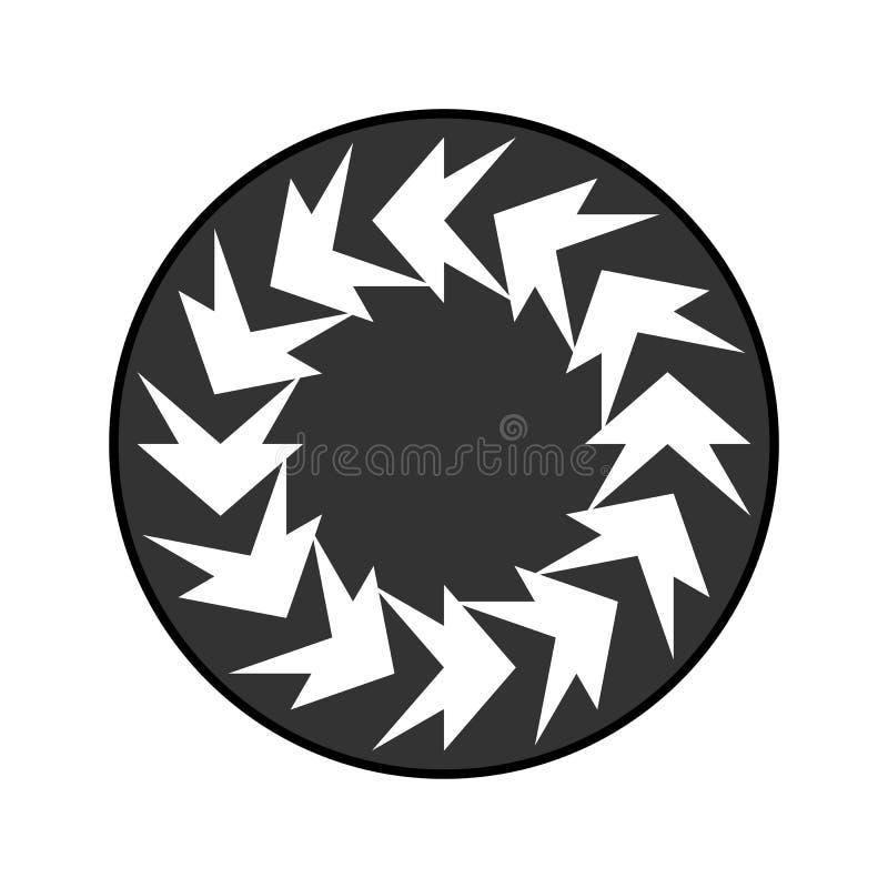 Circle badge with abstract figures vector . pagan symbols in grey circle. vector illustration