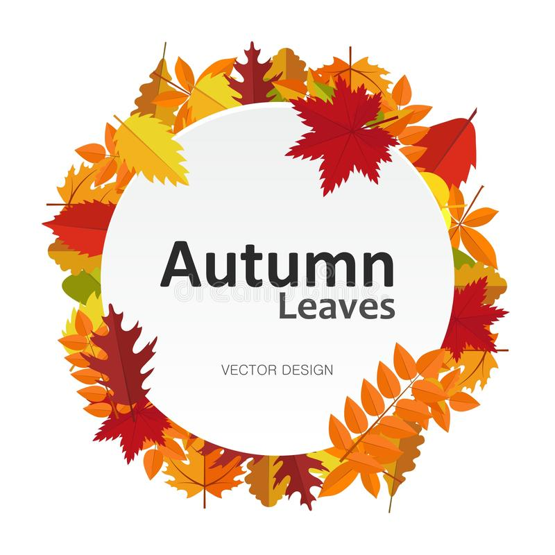 Circle banner with autumn leaves. Fall season round frame label card. Background your design. Circle banner with autumn leaves. Fall season round frame label vector illustration