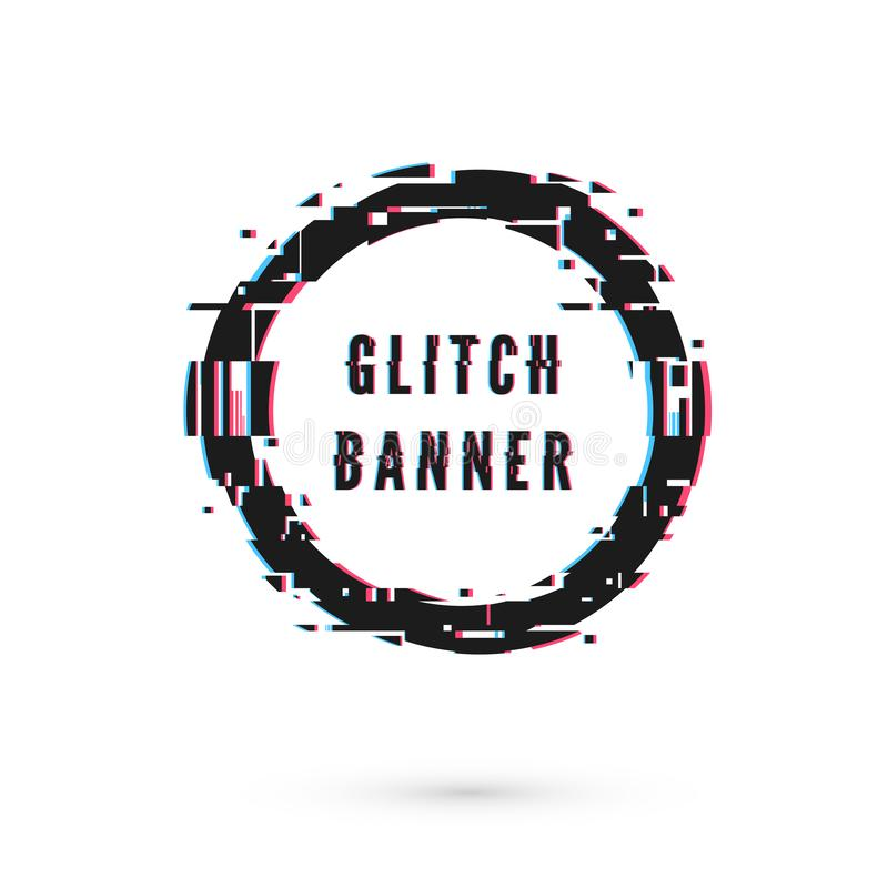 Circle banner with distortion effect - Glitch. Digital technology modern poster template. Vector illustration isolated. Circle banner with distortion effect vector illustration