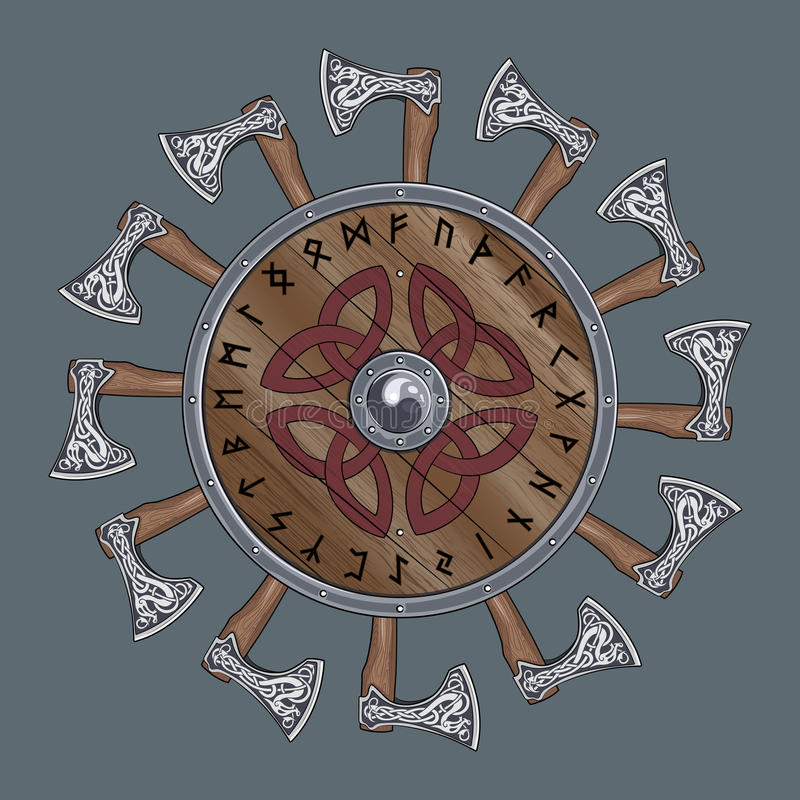 The circle of battle axes Viking, shield Viking decorated with Nordic runes vector illustration