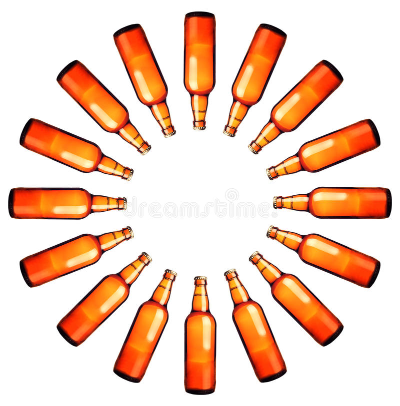 Circle of beer bottles. Round frame of beer bottles on white background stock images