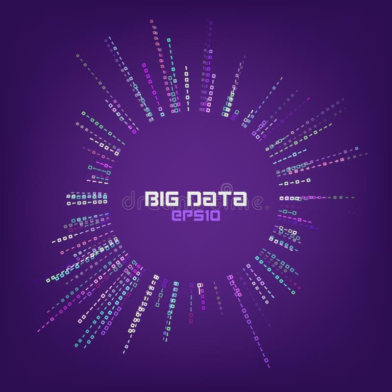 Circle bigdata abstract vector background. Digital columns of information. Big data concept stock illustration
