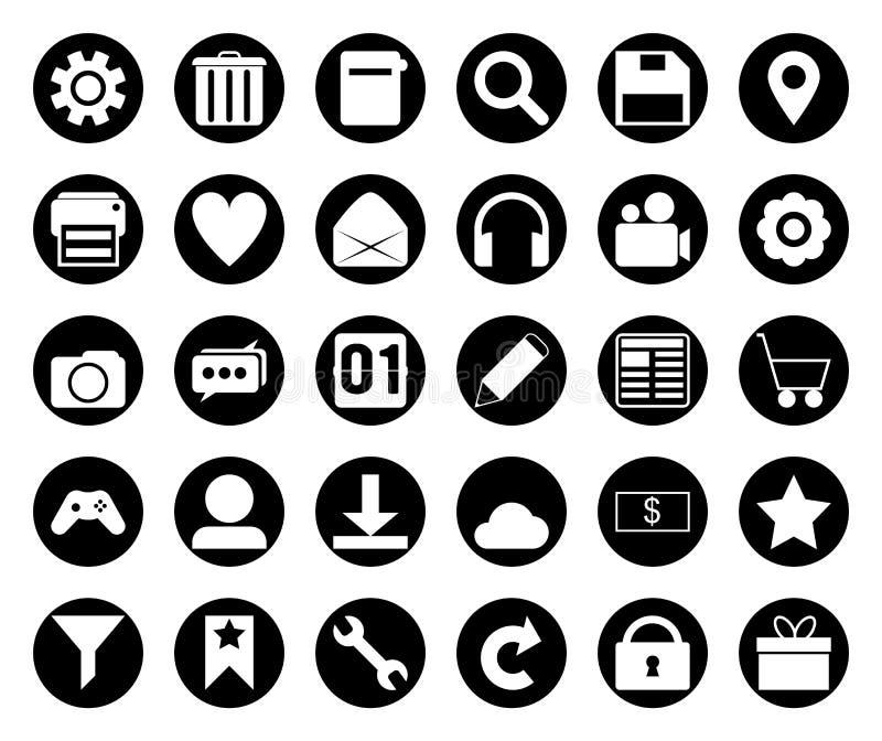 Circle black icon set stock image
