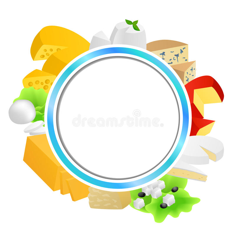 Circle blue frame cheese food set different types background illustration. Vector royalty free illustration