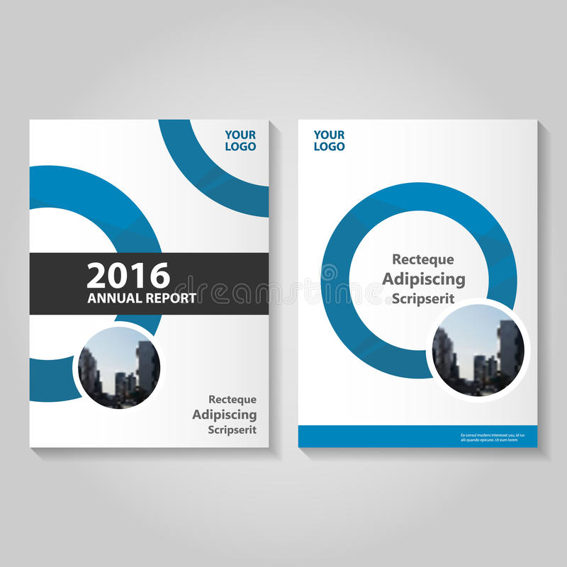 Circle blue Vector annual report Leaflet Brochure Flyer template design, book cover layout design, book cover. Circle blue Vector annual report Leaflet Brochure vector illustration