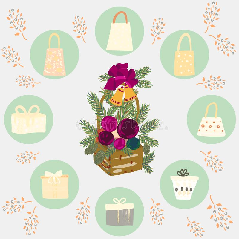Circle border with gifts, boxes and floral decor stock illustration