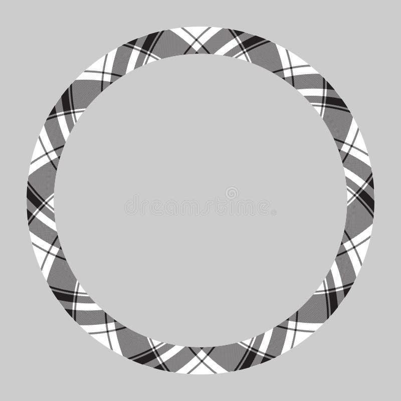 Circle borders and frames vector. Round border pattern geometric vintage frame design. Scottish tartan plaid fabric texture. royalty free illustration