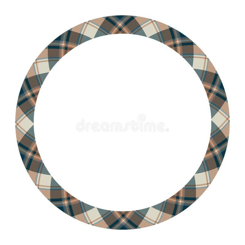 Circle borders and frames vector. Round border pattern geometric vintage frame design. Scottish tartan plaid fabric texture. stock illustration