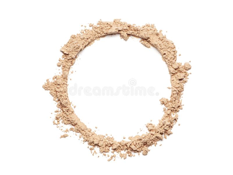 Circle of a broken make up powder. Make up crushed powder in the form of a circle on white background stock image