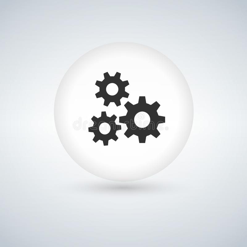 Circle bubble button with three Gears icon, vector illustration.  royalty free stock image