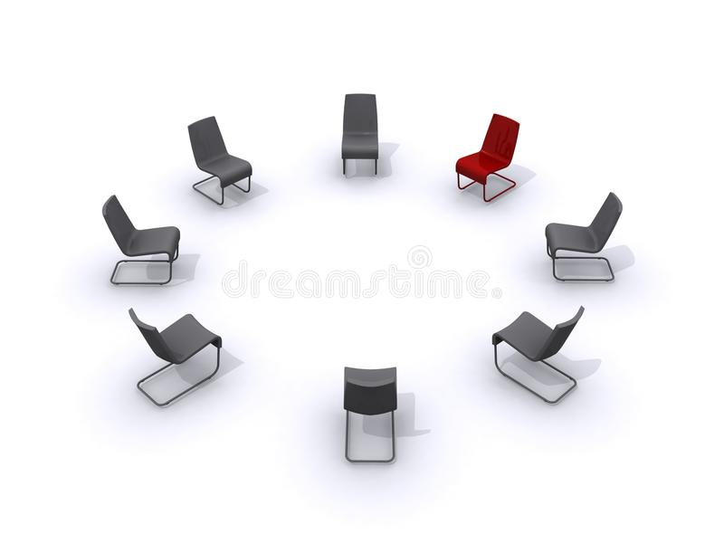 Circle of business chairs. Illustration of business chairs in circle with vacant red one for leader or manager, white background stock illustration