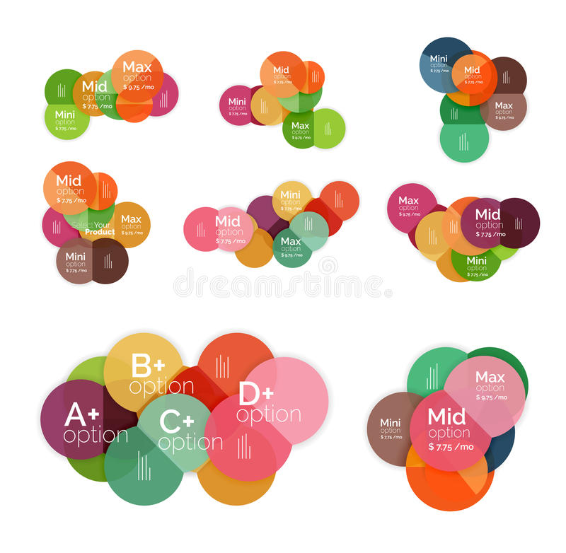 Circle business option diagrams. Select your product with sample options. A4 size geometric template. Brochure - flyer, presentation or web design background royalty free illustration