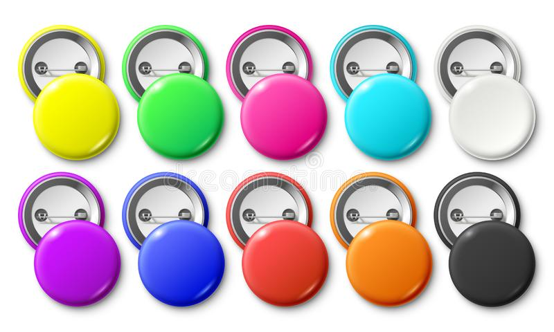 Circle button badge. Round pinned badges tag, metal pinback buttons and colorful pin label realistic isolated vector vector illustration
