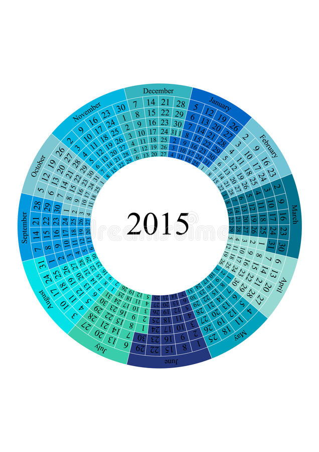Circle Calendar 2015 Year Template Stock Vector Illustration Of