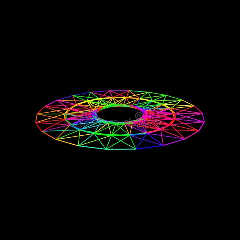 Circle carcass framework. Isolated on black background. Vector stock illustration
