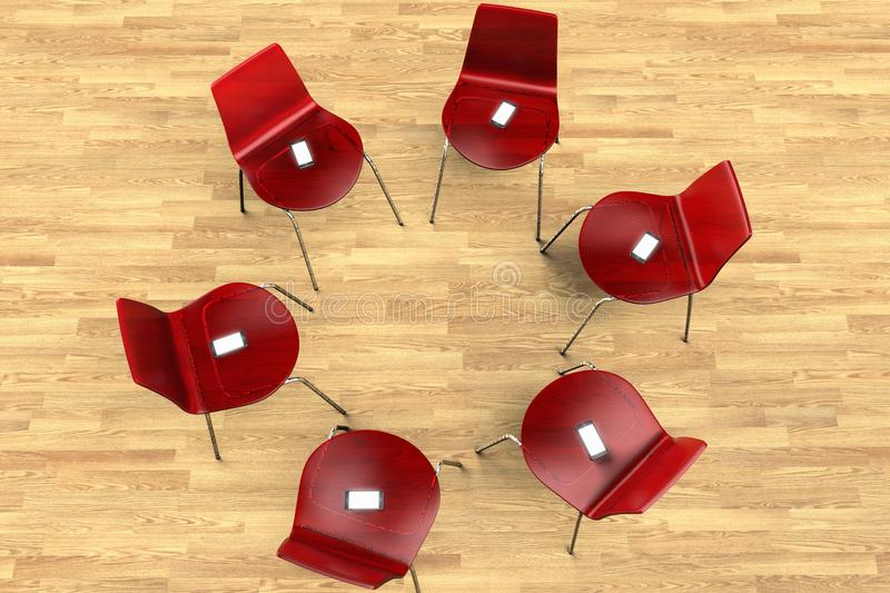 Circle of chairs with smartphones. A circle of chairs with smartphones instead of people stock illustration