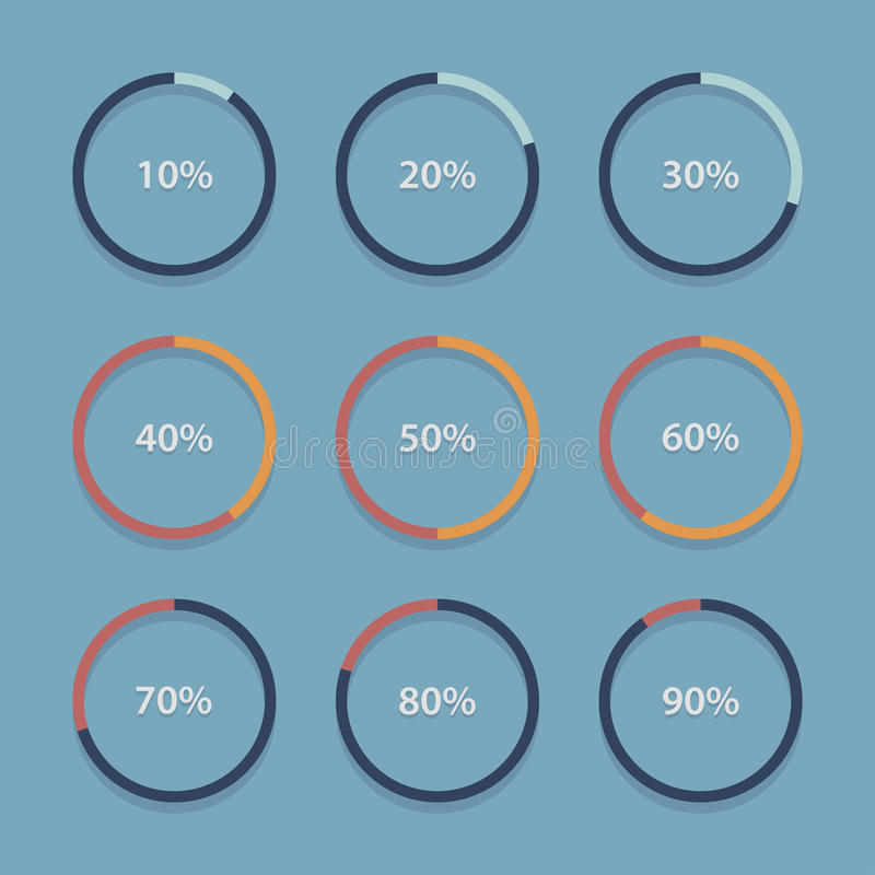 Circle chart, graph, infographic percentage templates collection. vector illustration