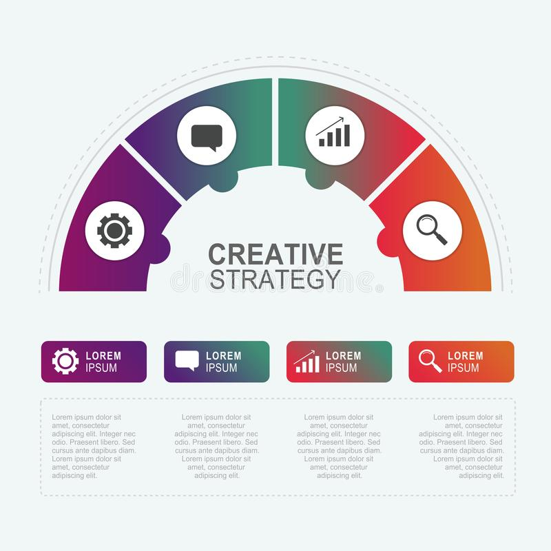 Circle chart of infographic business template for diagram, graphic, workflow and presentation banner. stock illustration