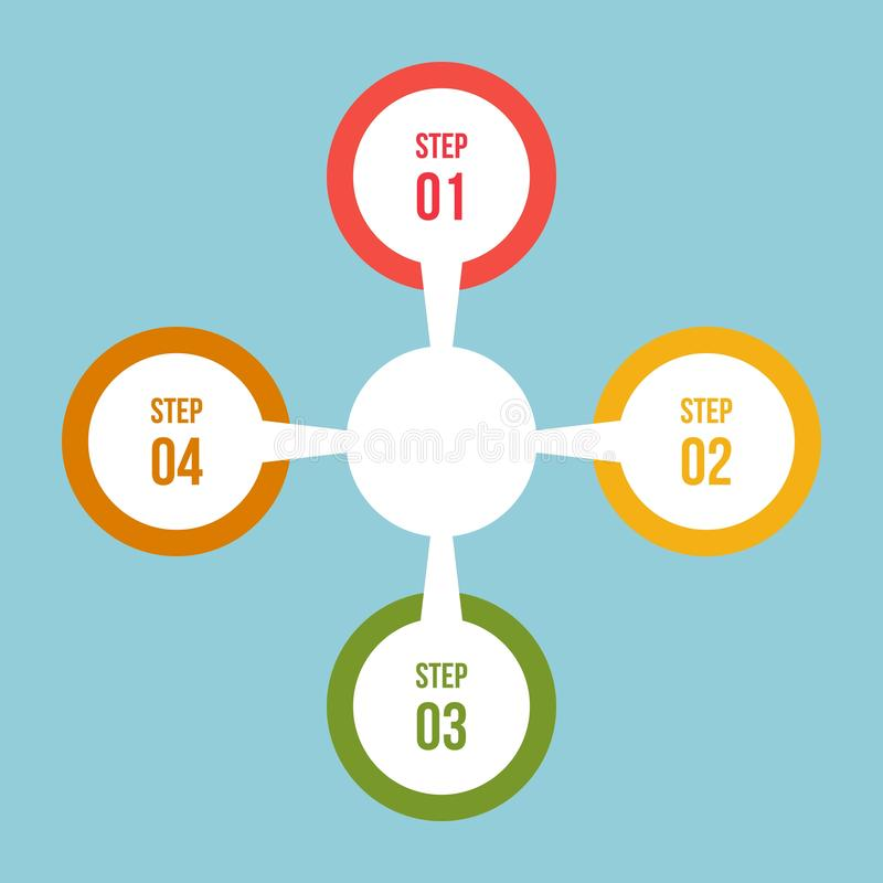 Circle chart, Circle infographic or Circular diagram. 4 steps Circle chart, Circle infographic or Circular diagram vector illustration