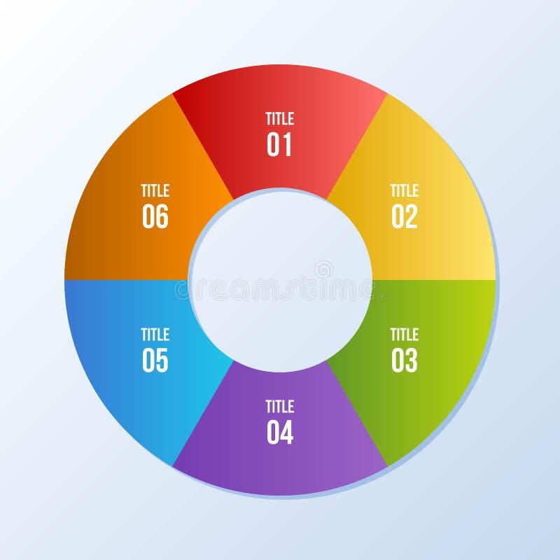 Circle chart, Circle infographic or Circular diagram. 6 steps Circle chart, Circle infographic or Circular diagram stock illustration