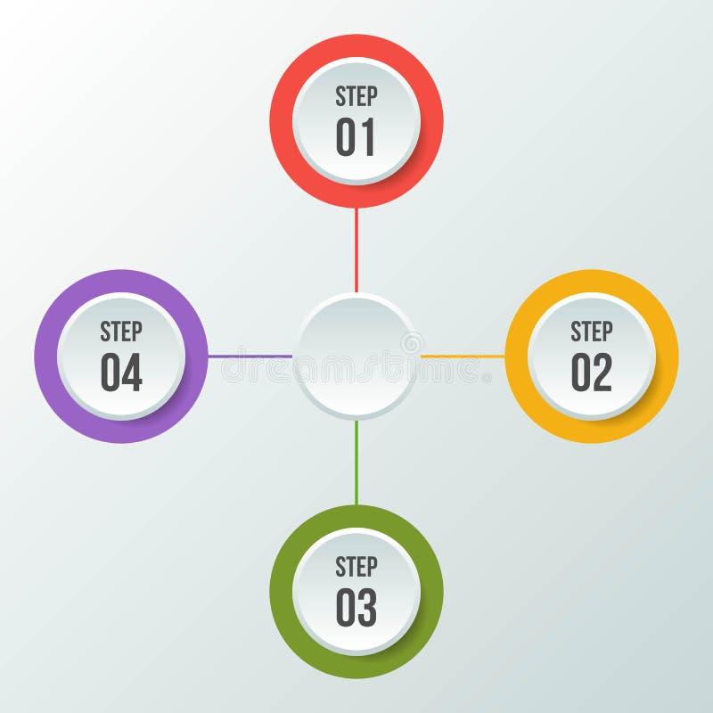 Circle chart, Circle infographic or Circular diagram. 4steps Circle chart, Circle infographic or Circular diagram vector illustration