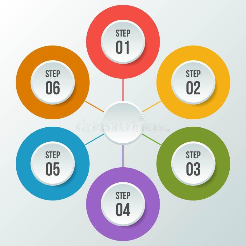 Circle chart, Circle infographic or Circular diagram. 6 steps Circle chart, Circle infographic or Circular diagram vector illustration