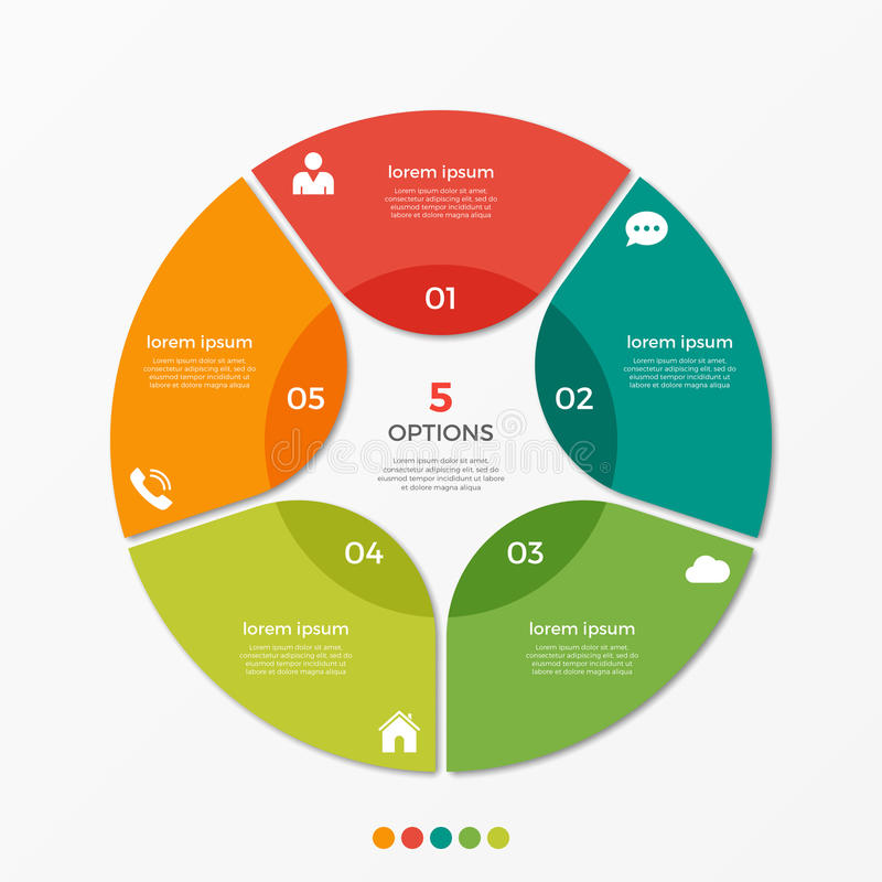 Circle chart infographic template with 5 options. For presentations, advertising, layouts, annual reports stock illustration