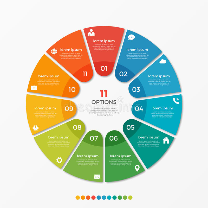 Circle chart infographic template with 11 options. For presentations, advertising, layouts, annual reports stock illustration