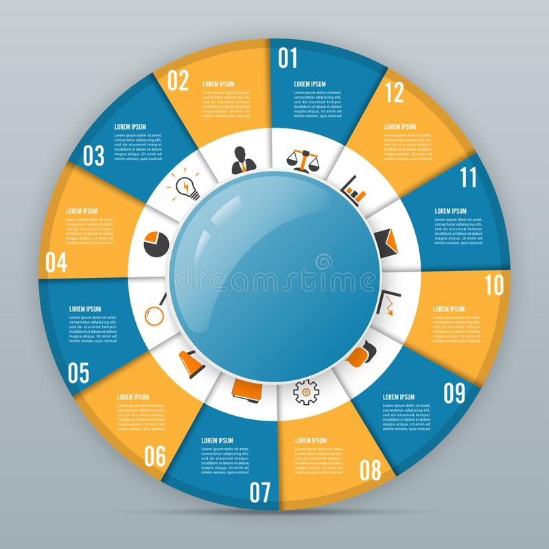 Circle chart infographic template with 12 options for presentations, advertising, layouts, annual reports stock illustration