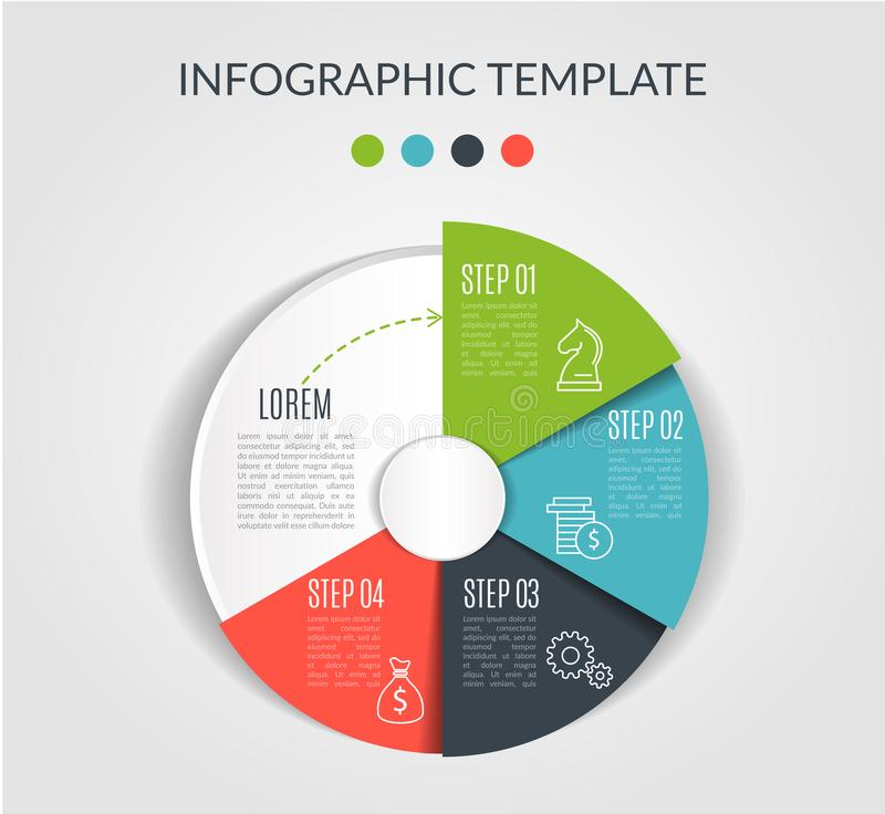 Circle chart infographic template with 4 options for presentations, advertising, layouts, annual reports. Vector. Illustration royalty free illustration
