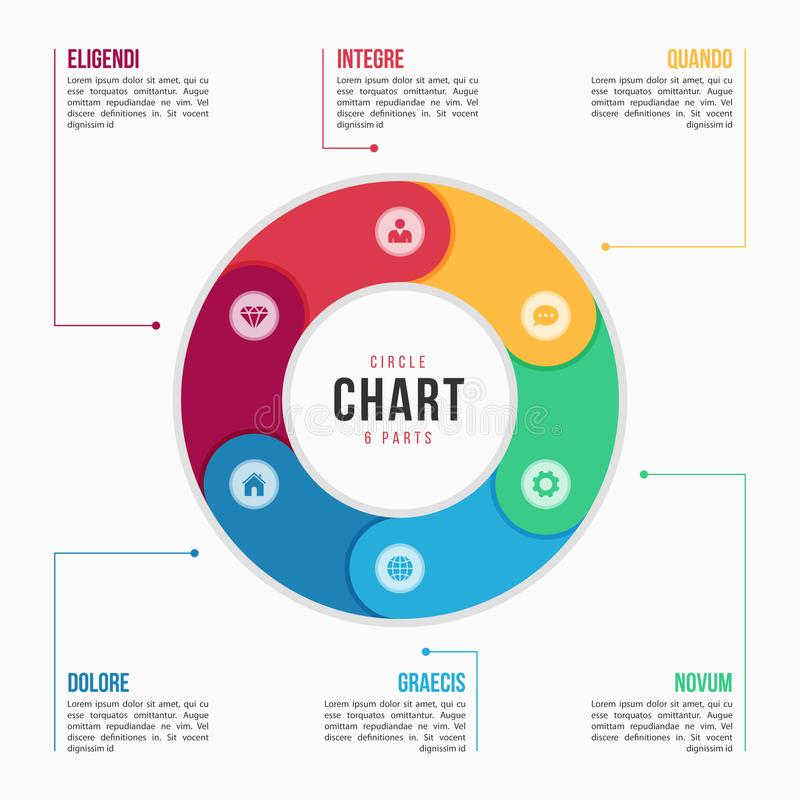 Circle chart infographic template with 6 parts, processes, steps. For presentations, advertising, layouts, annual reports. Vector illustration royalty free illustration