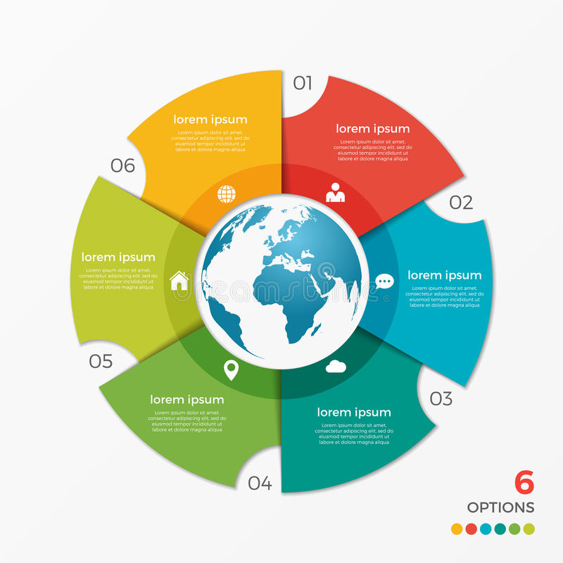 Free Circle Chart Infographic Template With Globe 6 Options Stock Images - 87212814