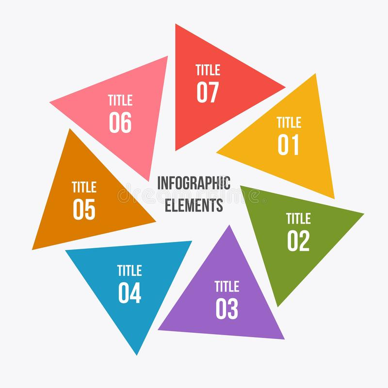 Circle chart, Circle infographic with triangle shape. 7 steps Circle chart, Circle infographic with triangle shape stock illustration