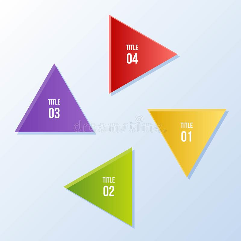Circle chart, Circle infographic with triangle shape. 4 steps Circle chart, Circle infographic with triangle shape stock illustration