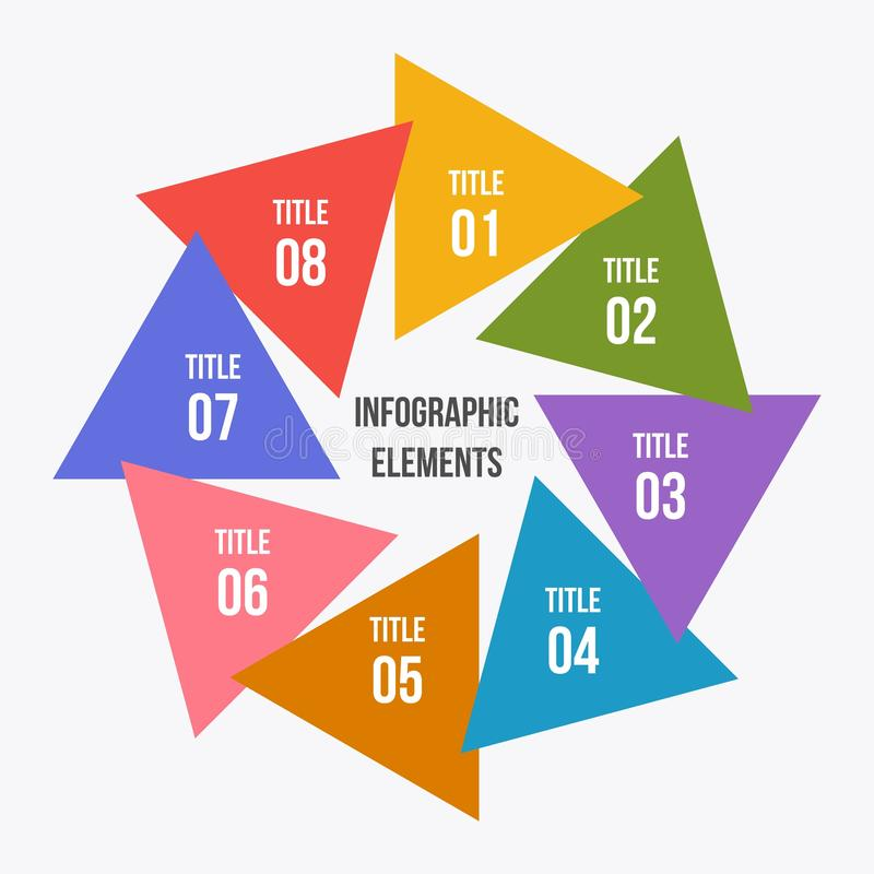 Circle chart, Circle infographic with triangle shape. 8 steps Circle chart, Circle infographic with triangle shape vector illustration