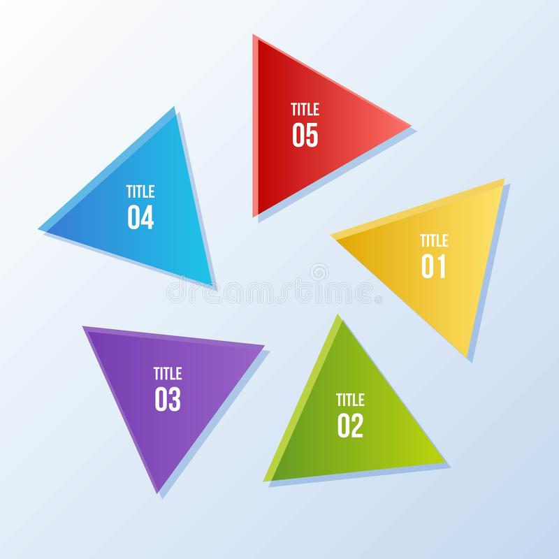 Circle chart, Circle infographic with triangle shape. 5 steps Circle chart, Circle infographic with triangle shape stock illustration