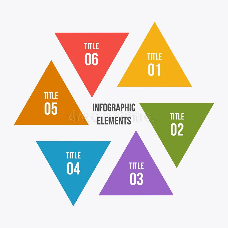 Circle chart, Circle infographic with triangle shape. 6 steps Circle chart, Circle infographic with triangle shape vector illustration
