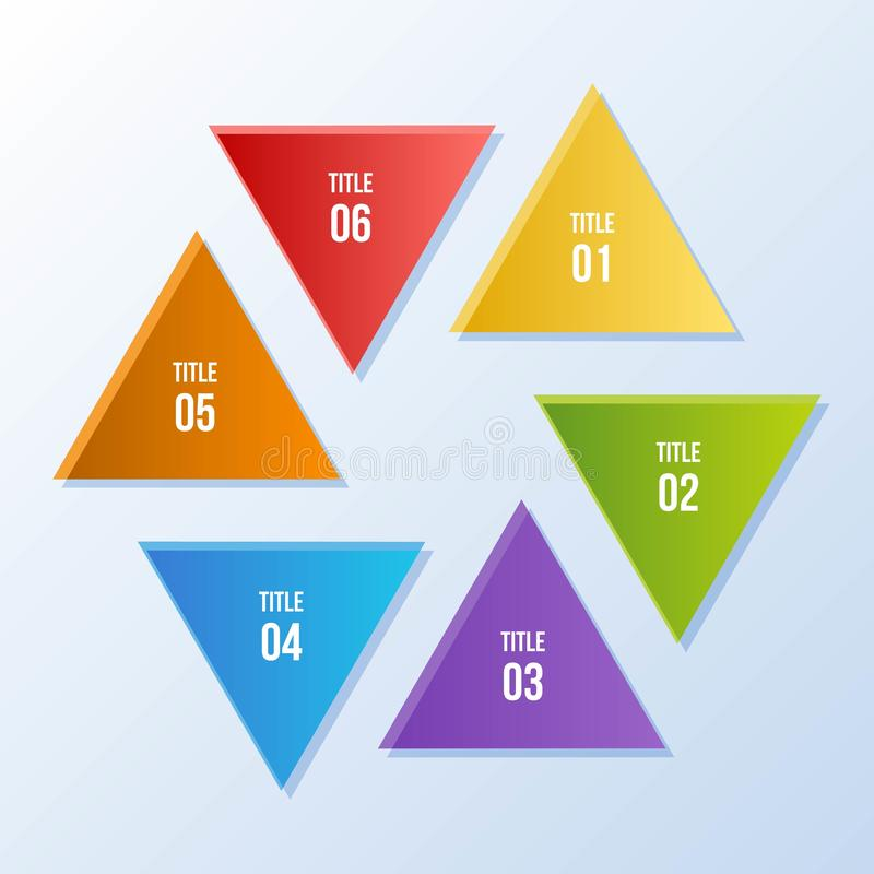 Circle chart, Circle infographic with triangle shape. 6 steps Circle chart, Circle infographic with triangle shape stock illustration