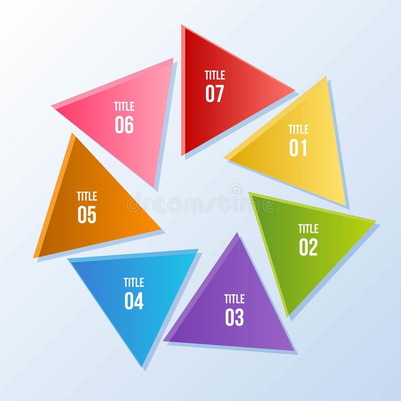 Circle chart, Circle infographic with triangle shape. 7 steps Circle chart, Circle infographic with triangle shape vector illustration
