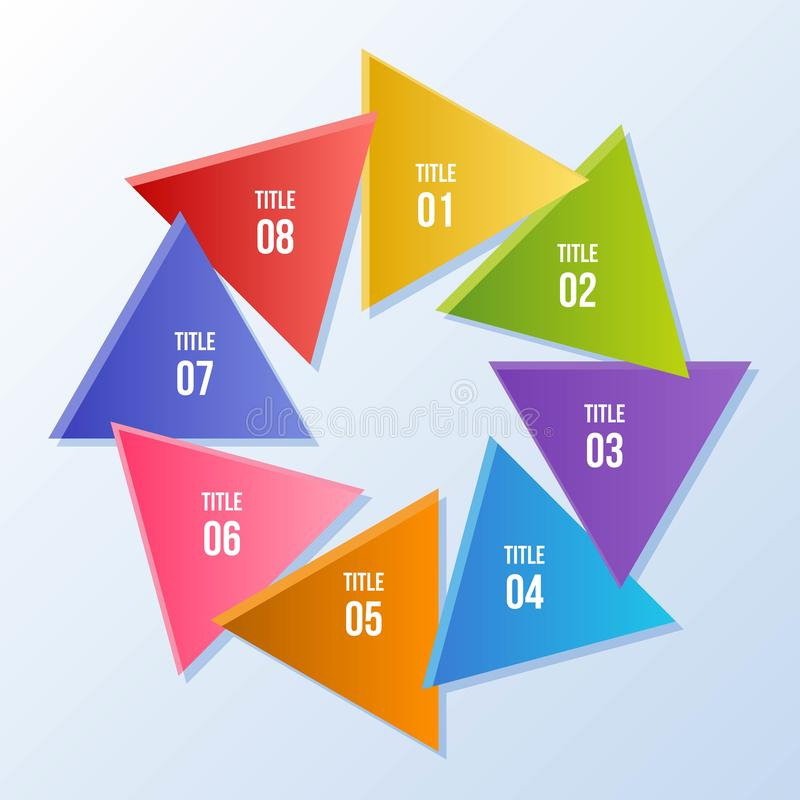 Circle chart, Circle infographic with triangle shape. 8 steps Circle chart, Circle infographic with triangle shape stock illustration