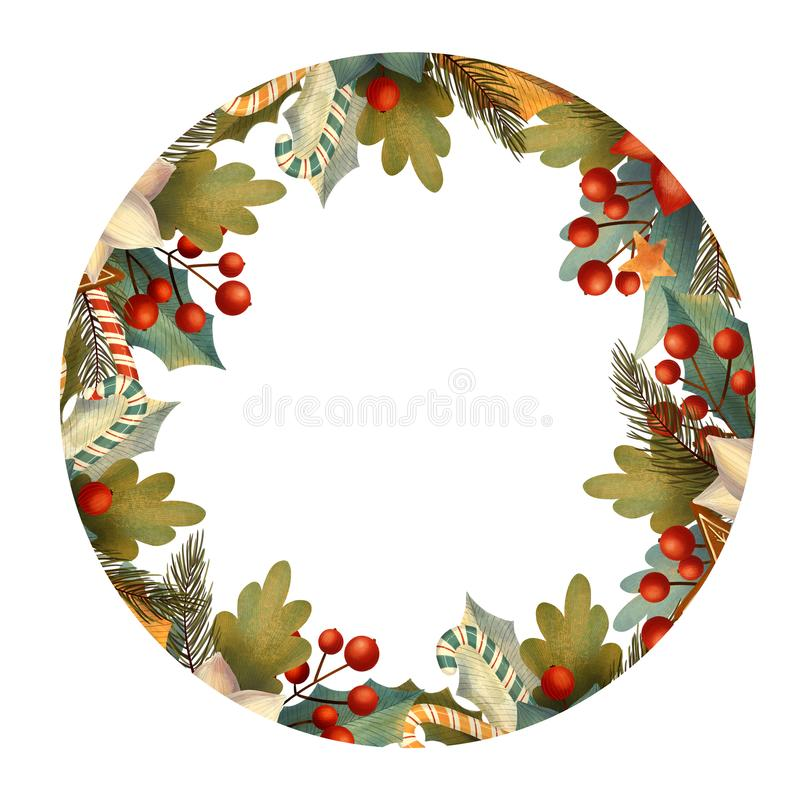 Free Circle Christmas Frame For Card Or Invitation With Poinsettia, Lollipop, Candy, Berry, Leaves, Branches. Royalty Free Stock Photo - 164210965